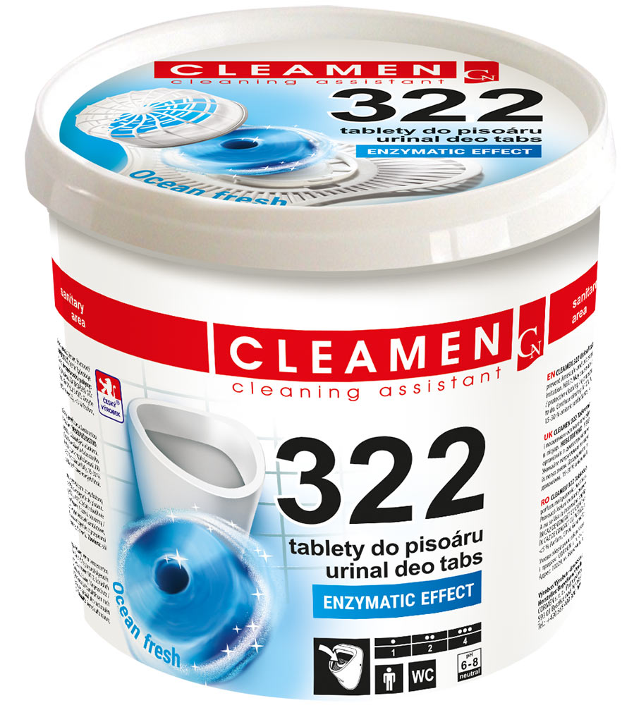 CLEAMEN 322 tablety do pisoáru 12 ks + sítko 1 ks
