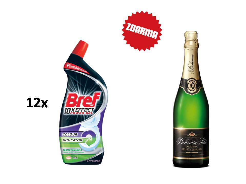 12x Bref 10× Effect Power Gel Protection Shield Lavender, tekutý WC čistič kompletní ochrana, 700 ml + Bohemia sekt demi 0,75l
