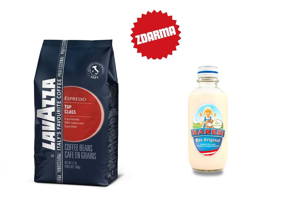 Káva Lavazza TOP Class zrnková 1kg + smetana do kávy MARESI 250 ml