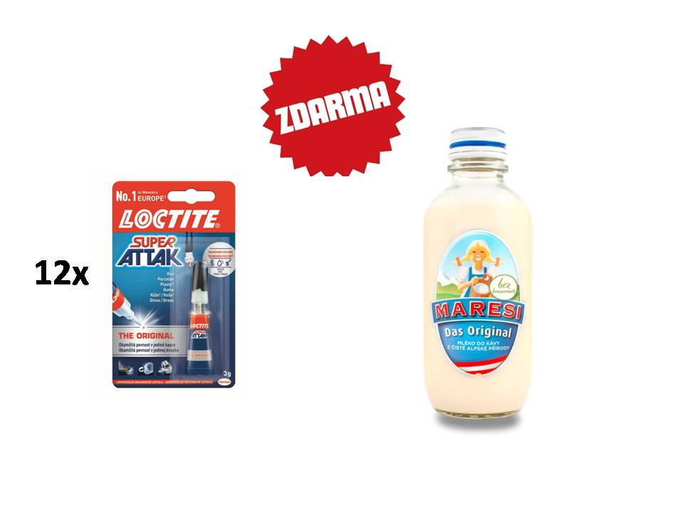 12x Lepidlo vteřinové Loctite Super Attak 3 g + smetana do kávy MARESI 250 ml