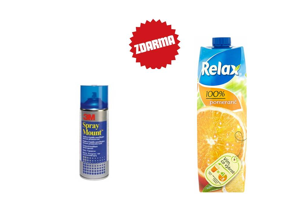 Lepidlo ve spreji 3M Spray Mount 400 ml + džus Relax 1l mix druhů
